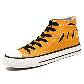 baratos Tênis Masculino-Homens Sapatos Confortáveis Lona Verão Casual Tênis Não escorregar Estampa Colorida Preto / Verde Tropa / Amarelo
