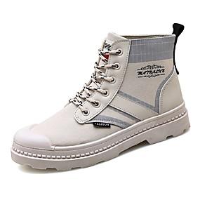 Недорогие Мужские ботинки-Муж. Армейские ботинки Полотно Осень / Весна лето На каждый день Ботинки Для прогулок Дышащий Ботинки Черный / Красный / Белый