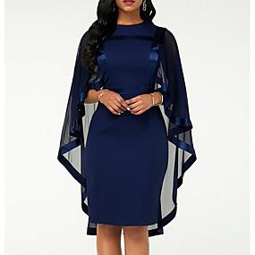 cheap US Explore Autumn Low-Key luxe-Women's Plus Size Sheath Dress - Solid Colored Crew Neck Black Wine Navy Blue S M L XL