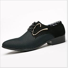 baratos Oxfords Masculinos-Homens Sapatos Confortáveis Couro Ecológico Verão Oxfords Respirável Branco e Preto / Azul Escuro