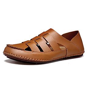 baratos Sandálias Masculinas-Homens Sapatos de Condução Microfibra Verão Casual / Formais Sandálias Respirável Preto / Branco / Marron / Ao ar livre