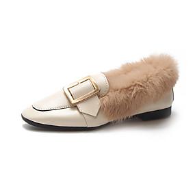 voordelige Damesinstappers & loafers-Dames Loafers & Slip-Ons Lage hak Gesloten teen PU Herfst winter Zwart / Beige