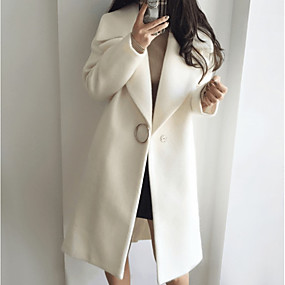 cheap Clearance-Women's Daily Basic Long Coat, Solid Colored Notch Lapel Long Sleeve Polyester White / Blushing Pink