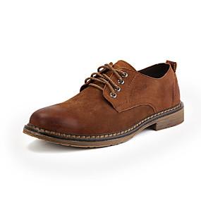 baratos Oxfords Masculinos-Homens Sapatos formais Couro Ecológico Primavera / Outono Negócio / Casual Oxfords Caminhada Preto / Marron / Cinzento