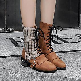 abordables Bottes Tendance-Femme Bottes Block Heel Bout rond Boucle Coton / Polyuréthane Bottine / Demi Botte Doux / Minimalisme Printemps & Automne / Automne hiver Noir / Marron