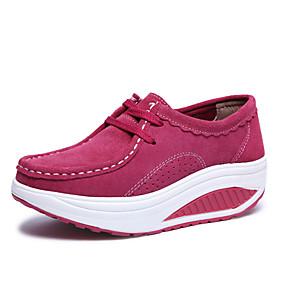 baratos Mocassins Femininos-Mulheres Sapatos de Barco Creepers Ponta Redonda Couro / Camurça Esportivo / Casual Primavera / Outono & inverno Preto / Fúcsia / Marron