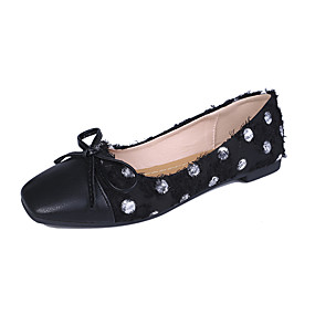 voordelige Damesschoenen met platte hak-Dames Platte schoenen Lage hak Vierkante Teen PU Lente & Herfst Zwart / Licht Groen / Beige