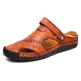 baratos Tamancos Masculinos-Homens Sapatos Confortáveis Couro Ecológico Verão Tamancos e Mules Tênis Anfíbio Preto / Amarelo / Marron