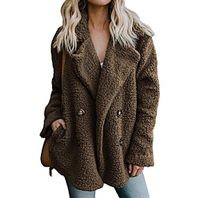 cheap Clearance-Women's Daily Fall & Winter Regular Faux Fur Coat, Solid Colored Notch Lapel Long Sleeve Faux Fur Black / Light gray / Brown