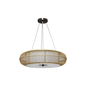 abordables Plafonniers-pays penderie bambou tissé pendentif lumière salle à manger pendentif éclairage rond restaurant suspension lumières e26 * 3