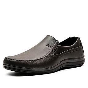baratos Sapatilhas e Mocassins Masculinos-Homens Sapatos Confortáveis Couro Ecológico Outono Casual Mocassins e Slip-Ons Não escorregar Preto / Marron
