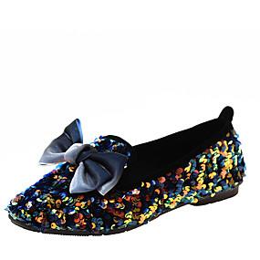 voordelige Damesinstappers & loafers-Dames Loafers & Slip-Ons Platte hak Vierkante Teen Strass / Pailletten PU Zoet / Studentikoos Lente & Herfst Zwart / Blauw / Zilver