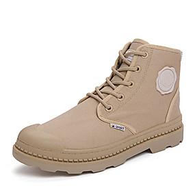 זול מגפיים לגברים-בגדי ריקוד גברים נעלי נוחות קנבס אביב / סתיו ספורטיבי / יום יומי מגפיים שחור / אפור / חאקי