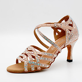 cheap Pre Sale-Women's Dance Shoes Satin Latin Shoes Sparkling Glitter / Crystals Heel Cuban Heel Customizable Black / Almond / Performance / Leather / Practice