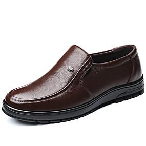 baratos Sapatilhas e Mocassins Masculinos-Homens Sapatos de couro Couro Outono / Primavera Verão Clássico Mocassins e Slip-Ons Caminhada Absorção de choque Preto / Marron