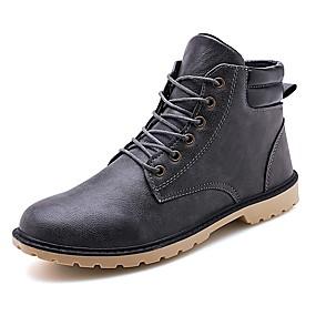 baratos Botas Masculinas-Homens Sapatos Confortáveis Couro Sintético Outono & inverno Vintage / Casual Botas Respirável Botas Cano Médio Preto / Marron / Cinzento