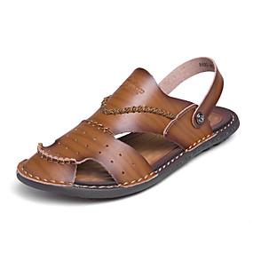 baratos Sandálias Masculinas-Homens Sapatos Confortáveis Microfibra Primavera Verão Clássico Sandálias Respirável Slogan Preto / Azul / Khaki