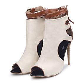 billige Mote Boots-Dame Støvler Stiletthæl Titte Tå Spenne Lerret Ankelstøvler Vår sommer Beige / Fargeblokk