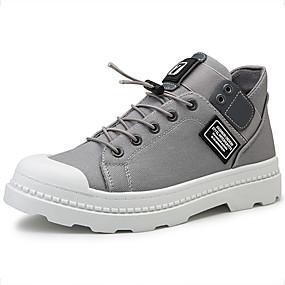 Недорогие Мужские ботинки-Муж. Армейские ботинки Полотно Осень / Весна лето На каждый день Ботинки Для прогулок Дышащий Ботинки Черный / Белый / Серый
