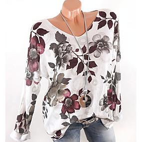 billige Udsalg-V-hals T-skjorte Dame - Blomstret Hvit