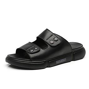 baratos Sandálias e Chinelos Masculinos-Homens Sapatos Confortáveis Pele Verão Chinelos e flip-flops Preto