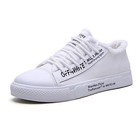 baratos Tênis Masculino-Homens Sapatos Confortáveis Lona Primavera Verão / Outono & inverno Casual / Colegial Tênis Respirável Slogan Preto / Branco