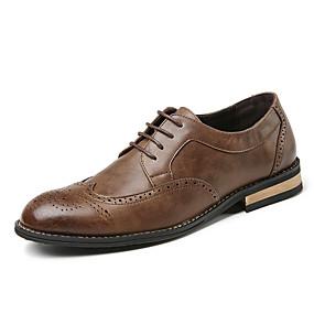 baratos Oxfords Masculinos-Homens Sapatos formais Microfibra Primavera Verão / Outono & inverno Negócio / Casual Oxfords Respirável Preto / Marron