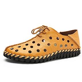 baratos Sandálias Masculinas-Homens Sapatos Confortáveis Pele Verão Sandálias Branco / Amarelo / Marron