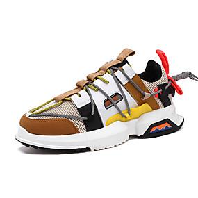 baratos Sapatos Esportivos Masculinos-Homens Solas Claras Sintéticos Primavera / Outono Esportivo / Casual Tênis Respirável Preto / Branco / Cinzento