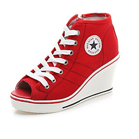 voordelige Damessneakers-Dames Sneakers Creepers Peep Toe Canvas Zomer Zwart / Wit / Rood