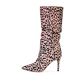 billige Mote Boots-Dame Støvler Stiletthæl Spisstå Semsket lær Knehøye støvler Britisk / minimalisme Vår & Vinter / Vinter Hvit / Rosa / Brun / Fest / aften / Leopard