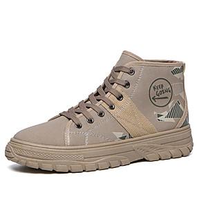 baratos Botas Masculinas-Homens Fashion Boots Lona / Couro Ecológico Outono Casual Botas Não escorregar Botas Cano Médio Preto / Khaki