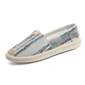 voordelige Damesinstappers & loafers-Dames Loafers & Slip-Ons Platte hak Ronde Teen Canvas Herfst winter Blauw / Beige / Grijs