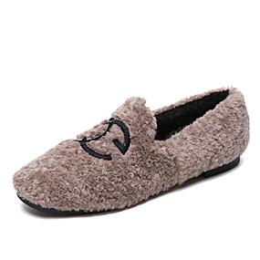 voordelige Damesinstappers & loafers-Dames Loafers & Slip-Ons Lage hak Ronde Teen POM Pom Imitatiebont Informeel / Zoet Wandelen Lente & Herfst / Herfst winter Zwart / Kameel / Wit