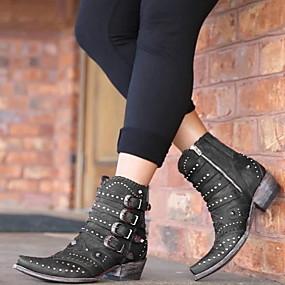 billige Mote Boots-Dame Støvler Tykk hæl Rund Tå Nagle Gummi / PU Støvletter Høst vinter Svart / Brun / Rød