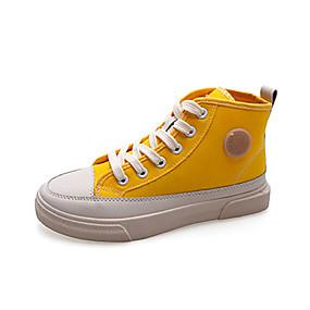 voordelige Damessneakers-Dames Sneakers Platte hak Ronde Teen Canvas / PU Informeel Herfst Zwart / Geel / Roze