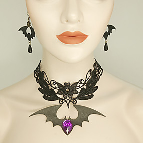 cheap Halloween Accessories & Jewelry-Women's Black Drop Earrings Choker Necklace Necklace Vintage Style Bat Statement Vintage Trendy Gothic Fashion Earrings Jewelry Black For Halloween Club 1 set