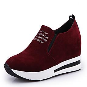 voordelige Damesinstappers & loafers-Dames Loafers & Slip-Ons Verborgen hiel Ronde Teen Suède minimalisme Lente / Herfst winter Zwart / Wijn / Feesten & Uitgaan / leuze