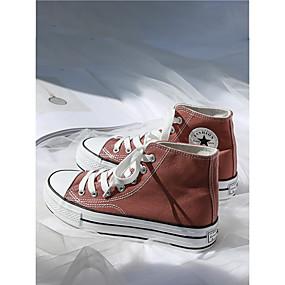 voordelige Damessneakers-Dames Sneakers Platte hak Ronde Teen Canvas Informeel / Studentikoos Hardlopen / Wandelen Lente zomer / Herfst winter Zwart / Lichtbruin / Wit