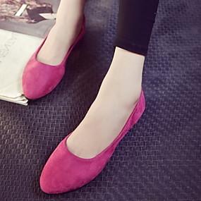 voordelige Damesschoenen met platte hak-Dames Platte schoenen Platte hak Ronde Teen Suède Zomer Zwart / Fuchsia / Rood
