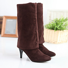 billige Mote Boots-Dame Støvler Stiletthæl Spisstå Sateng / Elastisk stoff Lårhøye støvler Klassisk / minimalisme Vinter / Høst vinter Svart / Grå / kaffe