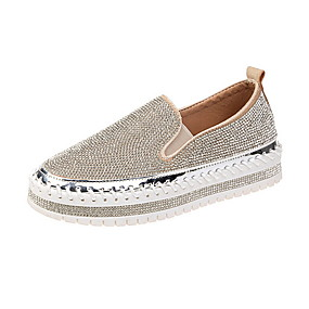 voordelige Damesinstappers & loafers-Dames Loafers & Slip-Ons Creepers Ronde Teen Pailletten PU Zomer Zwart / Zilver