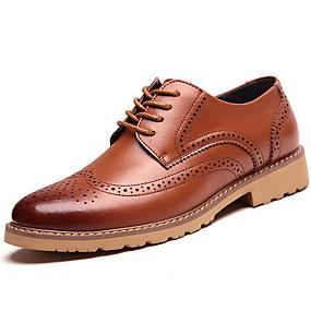 baratos Oxfords Masculinos-Homens Sapatos Confortáveis Couro Verão Oxfords Preto / Marron / Amarelo