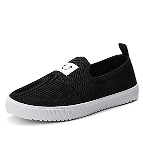 voordelige Damesschoenen met platte hak-Dames Platte schoenen Platte hak Ronde Teen Canvas Zoet / minimalisme Wandelen Lente & Herfst Zwart / Wit