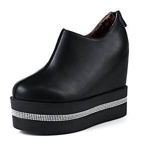 voordelige Damessneakers-Dames Sneakers Verborgen hiel Ronde Teen Strass PU Herfst winter Zwart / Wit