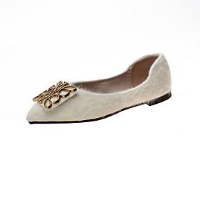 voordelige Damesschoenen met platte hak-Dames Platte schoenen Platte hak Gepuntte Teen Imitatiebont / PU Informeel Herfst Zwart / Wit / Groen