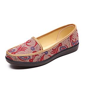 voordelige Damesinstappers & loafers-Dames Loafers & Slip-Ons Platte hak Ronde Teen Netstof Zomer Bruin / Rood