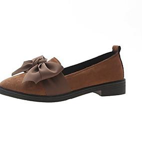 voordelige Damesschoenen met platte hak-Dames Platte schoenen Platte hak Gepuntte Teen Strik PU Herfst winter Zwart / zwart / wit / Donker Bruin