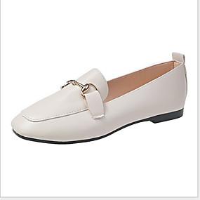 voordelige Damesschoenen met platte hak-Dames Platte schoenen Platte hak Ronde Teen Varkensleer Zomer Zwart / Beige
