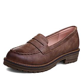 voordelige Damesschoenen met platte hak-Dames Platte schoenen Platte hak Ronde Teen PU Herfst winter Zwart / Bruin / Rood